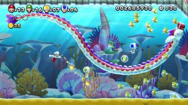 Unter Wasser begegnet ihr großen Gegnern.