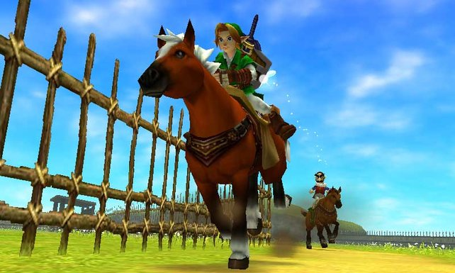Link und das treue Pferd Epona huschen in 3D über den Schirm.