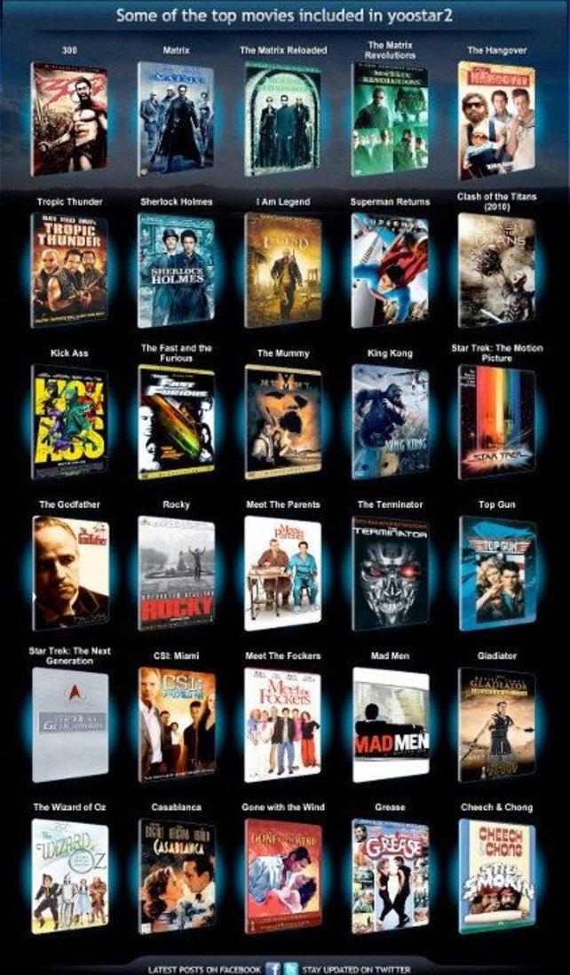 Zahlreiche Hollywood-Blockbuster sind in Yoostar 2 vertreten.