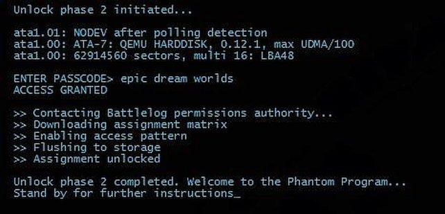 Das Passwort für den Phantom Schüler ist geknackt. Das kommt nach der Eingabe.