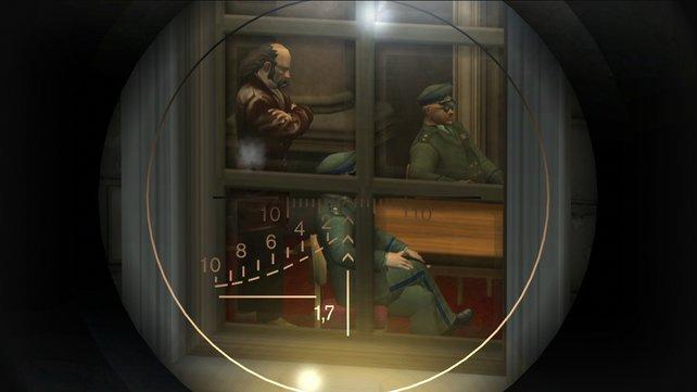 Ein Blick durch das Zielfernrohr in Hitman 2 - Silent Assassin.