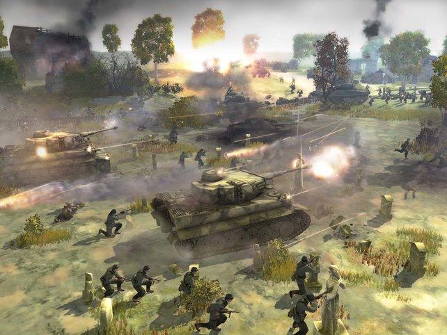 Die Infanterie läuft im Schutz der Panzer
