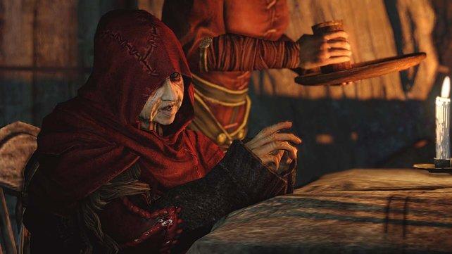 Die rotgekleideten Hexen helfen, euren Charakter zu erstellen.