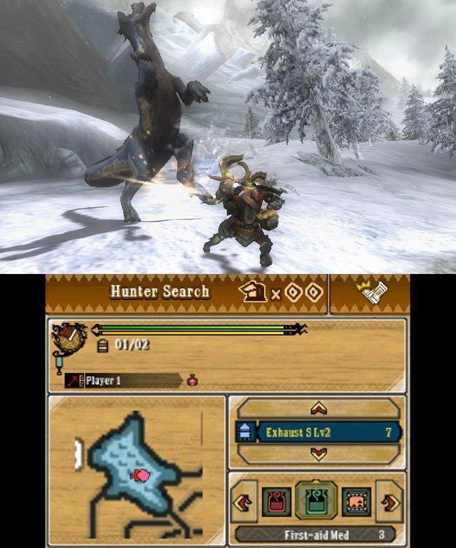 So sieht das Spiel auf 3DS aus. Der untere Bildschirm entspricht dem Tablet auf Wii U.