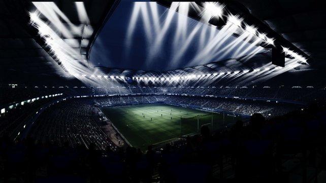 Die Hamburger HSH Nordbank Arena unter Flutlicht.