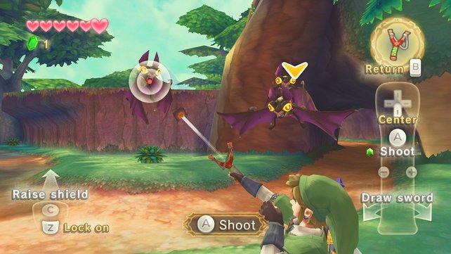 Link holt sich seine Feinde einfach mit der Steinschleuder vom Himmel.