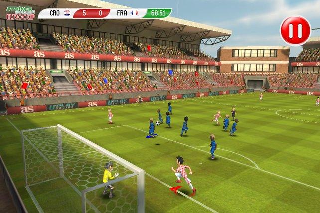 Striker Soccer spielt sich wie eine Fußballübertragung.