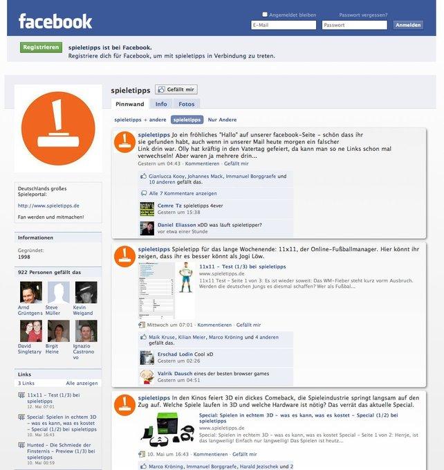 Kaum online und schon Hunderte von Anhängern: spieletipps bei Facebook