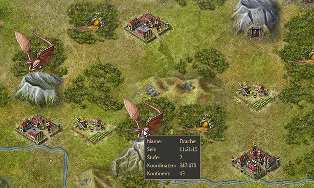 Zwei Drachen warten auf mutige Truppen. Die orangen Türchen im Wald markieren Dungeons mit viel Holzbeute.