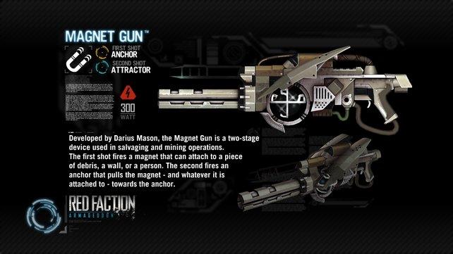 Mit dem Magnet-Gewehr lasst ihr tonnenschwere Bauten gezielt auf Gegner stürzen.