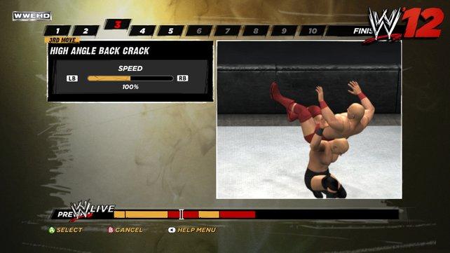 In WWE '12 dürft ihr euch eigene 'Finishing Moves' bauen. Dazu reiht ihr Bewegungsabläufe aneinander.