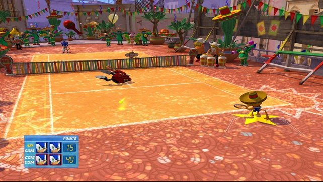 Wer tanzt da Samba auf dem Tennisplatz? Natürtlich Samba de Amigo.
