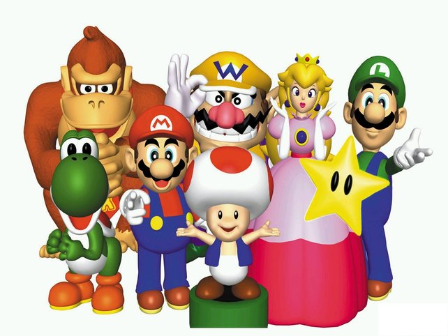 Ein gerendertes Bild von Mario und seinen Freunden aus dem Jahr 1998.