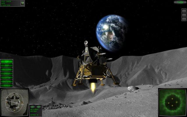 Da geht sie auf, die Erde. Im Vordergrund seht ihr die Mondlandefähre.