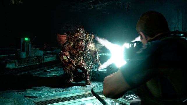 Chris Redfield nimmt es mit Mutanten jeder Größe und Art auf.