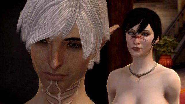 Die Standardausführung der weiblichen Hawke verführt Tattoo-Elfe Fenris.