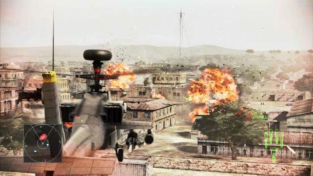 Angriff der Apachen: Mit dem Kampfhelikopter erledigt ihr auch verschanzte Milizen.