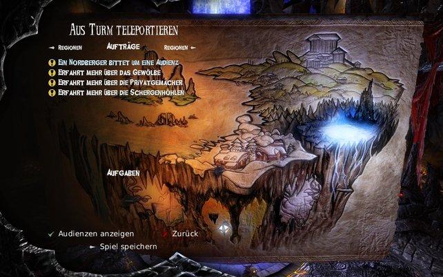 Vom Thron in der Unterwelt wählt ihr euren nächsten Auftrag.