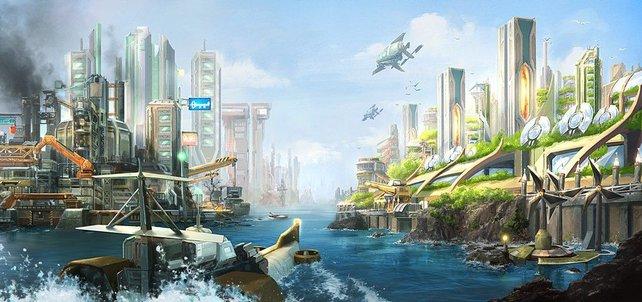 Anno 2070 führt euch in eine futuristische neue Welt wie diese Illustration beweist.
