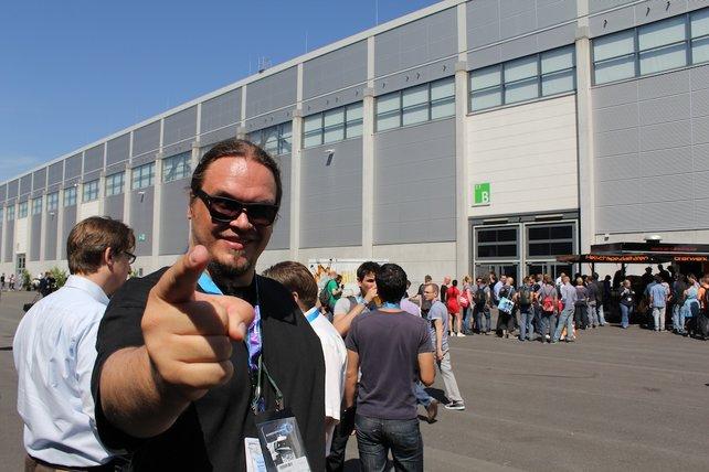 Hier steht Onkel Jo auch am Freitag auf dem Gamescom-Messegelände.