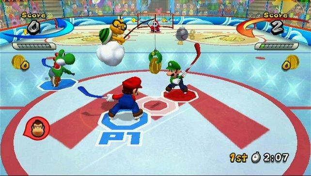 Mario und Luigi stehen beim Eishockey beim Bully.