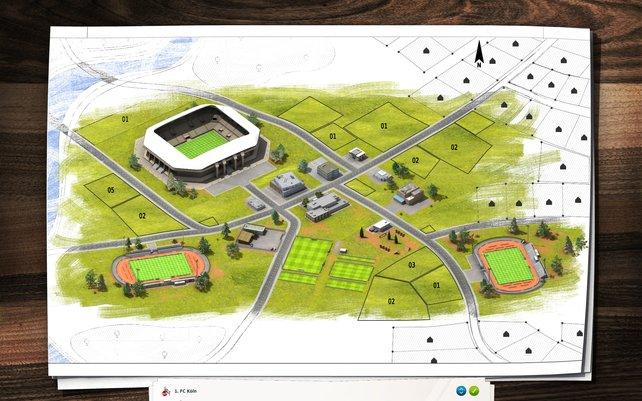 Planung ist alles: Ihr stellt euren Kader auf und errichtet Stadien und Trainingsstätten.