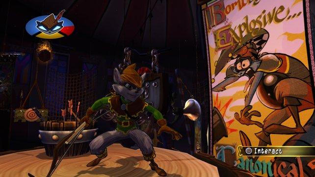 Im Bogenschützen-Kostüm verschießt Sly  Seile, über die er klettern kann.