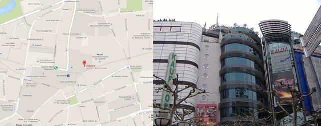 """Die Zeilgalerie findet ihr Zentrum von Frankfurt, direkt neben der U-Bahn-Station """"Hauptwache""""."""