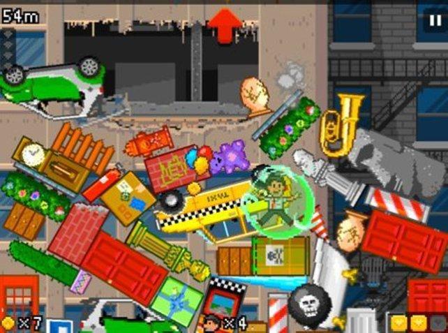 Farbenfrohe Pixelei bei Müllstapeln.