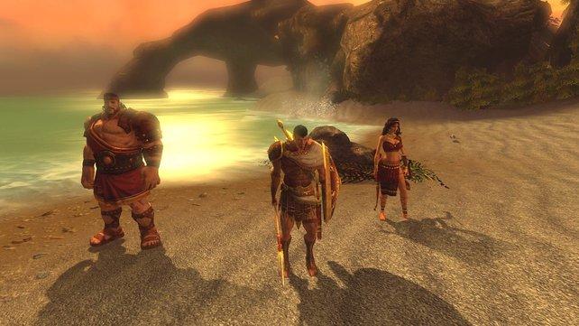 Jason zusammen mit Herkules und Atalante am Strand