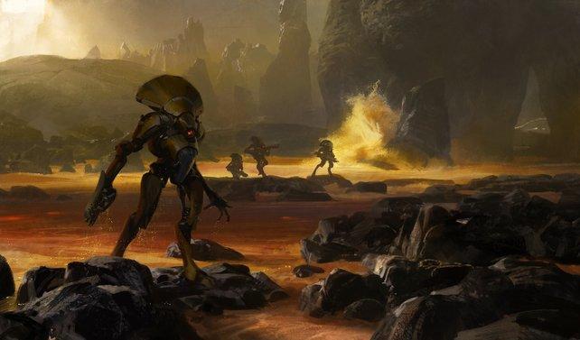 Die Vex, eine gegnerische Roboterarmee (Konzeptzeichnung).
