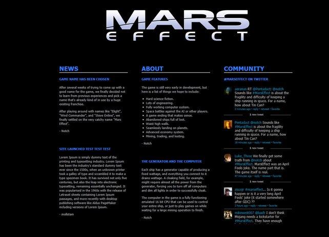 Minecraft-Vater Notch erlaubt sich einen Aprilscherz auf Kosten von Mass Effect.
