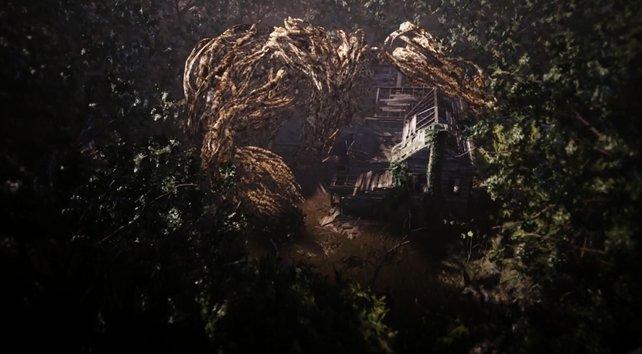 Ein letztes Mal wandert die Kamera über das Anwesen. So ähnlich haben wir das auch in Resident Evil 1 gesehen.