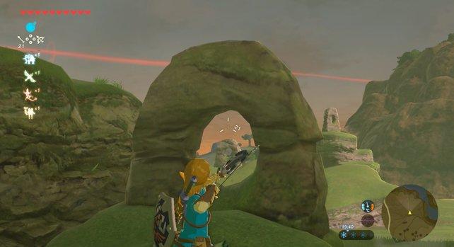Von dieser Position aus erreicht der Pfeil auch den hinteren Steinring.