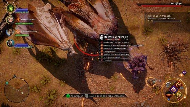 Die Taktik-Ansicht ist nicht so gut gelungen wie in Dragon Age - Origins. Nur gegen wirklich harte Gegner wie diesen Drachen ist sie sinnvoll einsetzbar.
