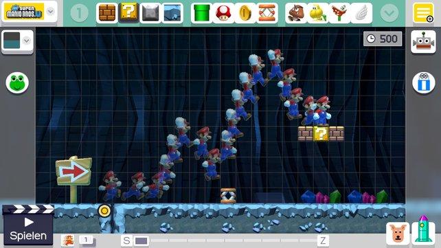 Die Spur zeigt euch Mario's Bewegungsablauf