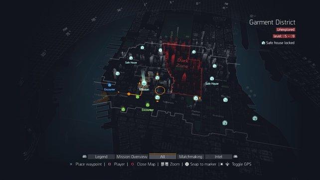 Von oben: Wer den Überblick behalten will, ruft die interaktive Karte auf. Hier findet ihr auch die Dark Zone.