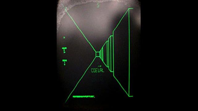 Schwarzer Hintergrund, grüne Vektoren: So einfach sah 1973 der erste Ego-Shooter Maze War aus.