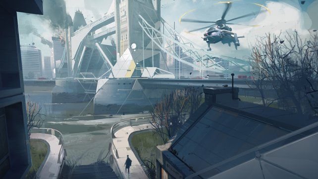 Hier eine Konzeptstudie zum Spiel. Im Hintergrund die Tower Bridge