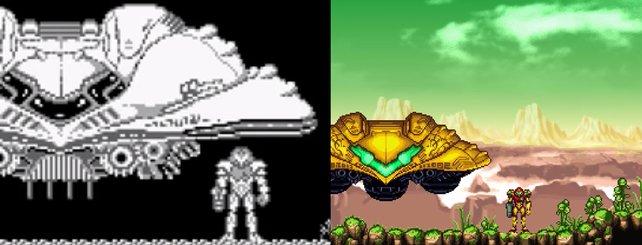 Metroid 2 im Original (links) und als bunte, aber inoffizielle AM2R-Neuauflage.
