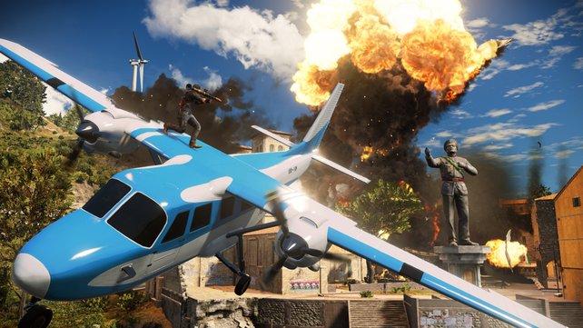 Gegen Despoten helfen nur Copiloten ... die mit einem Raketenwerfer auf dem Flugzeug herumklettern.