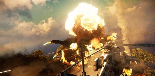 Bildgewaltige Explosionen sind bei Just Cause 3 häufig zu sehen.