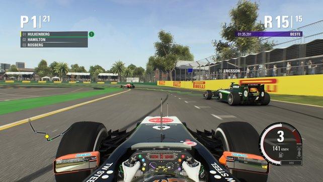 """Fahrhilfen wie die dynamische Ideallinie erleichtern den Einstieg in den """"Formel 1""""-Zirkus."""