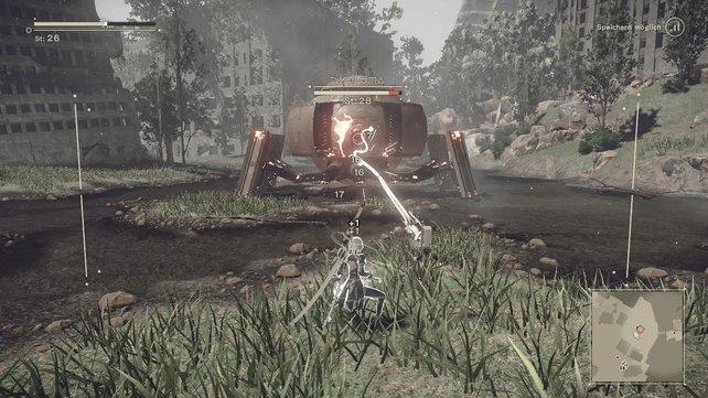 Pod B im Einsatz gegen eine wildgewordene Maschine in Nier - Automata.