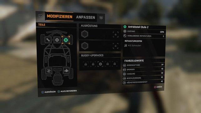 Hier seht ihr die Fahrzeugwerte eures Buggys, sowie Ausrüstungen und Upgrades.