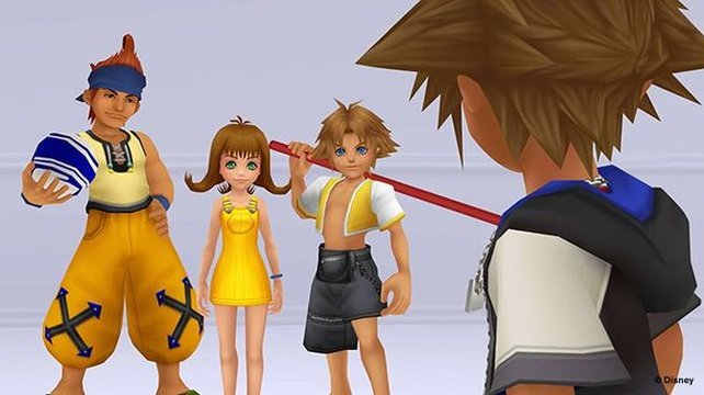 Wakka, Selphie und Tidus stehen Sora zur Seite