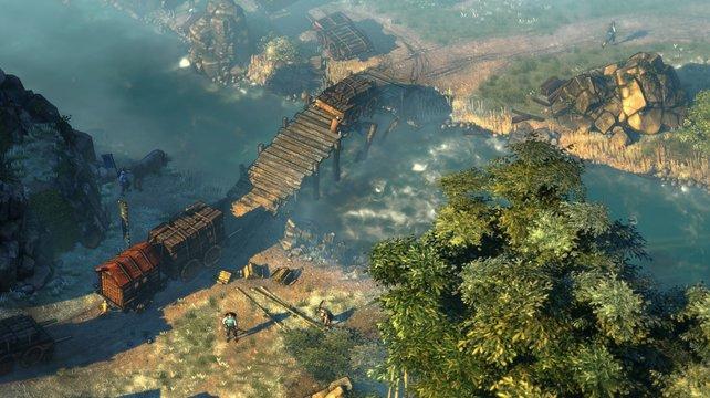 Shadow Tactics bietet euch vielfältige Möglichkeiten: Im Wasser könnt ihr euch vor Feinden verstecken.