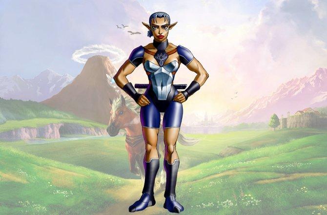 Das ist Impa, die Beschützerin von Zelda. Dies ist ihr Aussehen in The Legend of Zelda - Ocarina of Time.