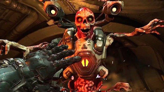 """In Doom 4 trefft ihr auf fiese Ungeheuer wie diesen """"Revenant""""."""