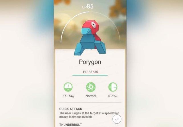Ein wildes Porygon! Nach dem erfolgreichen Einfangen, seht ihr Statistiken und Attacken.
